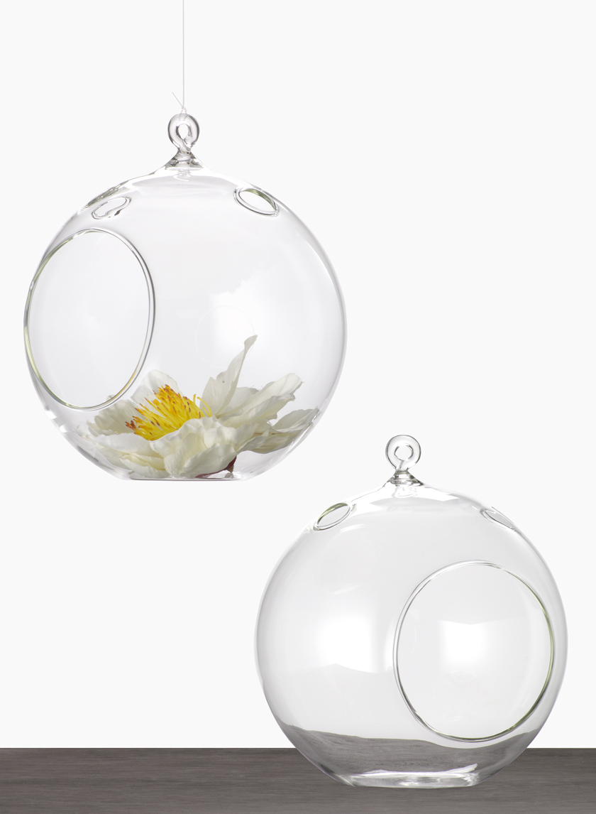 6in Hanging Glass Ball Votive Holder