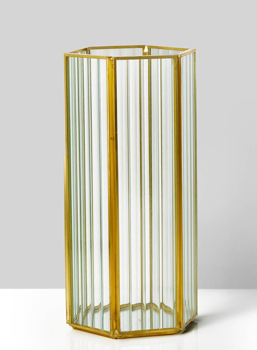 8 3/4in H Striped Glass Gold Hexagon Hurricane