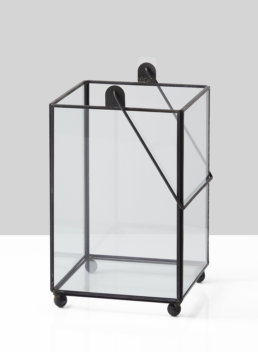 7in Black Square Hurricane Lantern