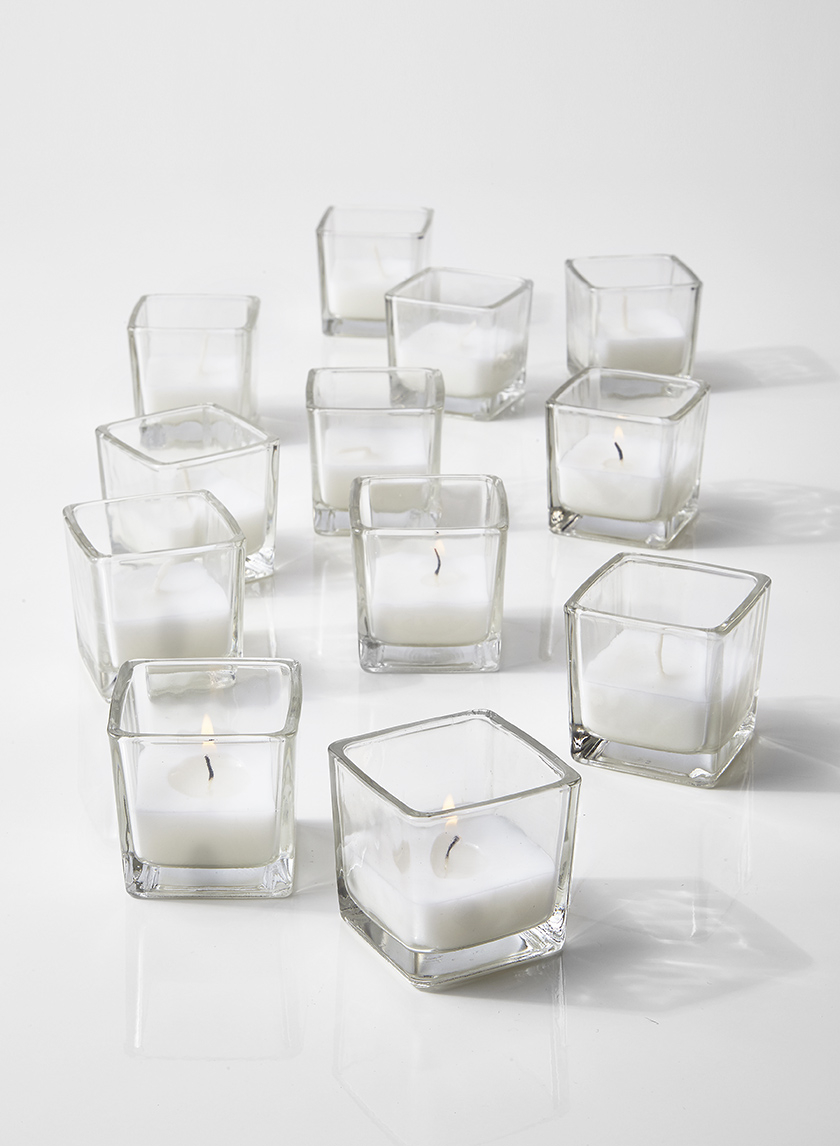 10-Hour White Votive In Cube Glass, Pack of 12