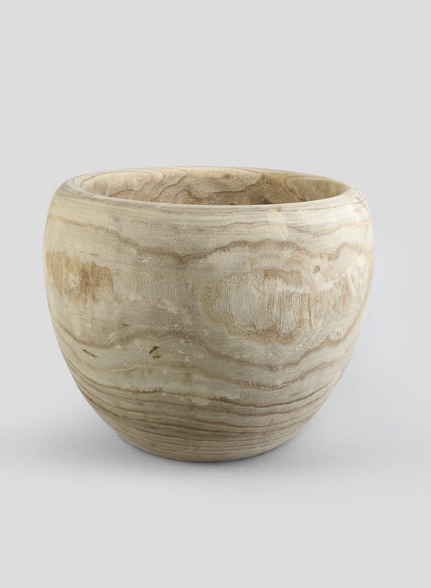 18in Paulownia Wood Fishbowl Pot