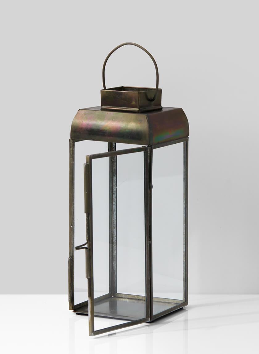 Alazhar Square Antique Bronze Lantern, 7 1/2in H