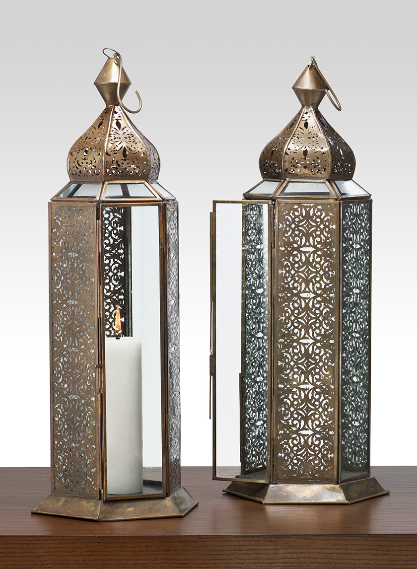 16in Antique Bronze Jaipur Pattern Panel Lantern