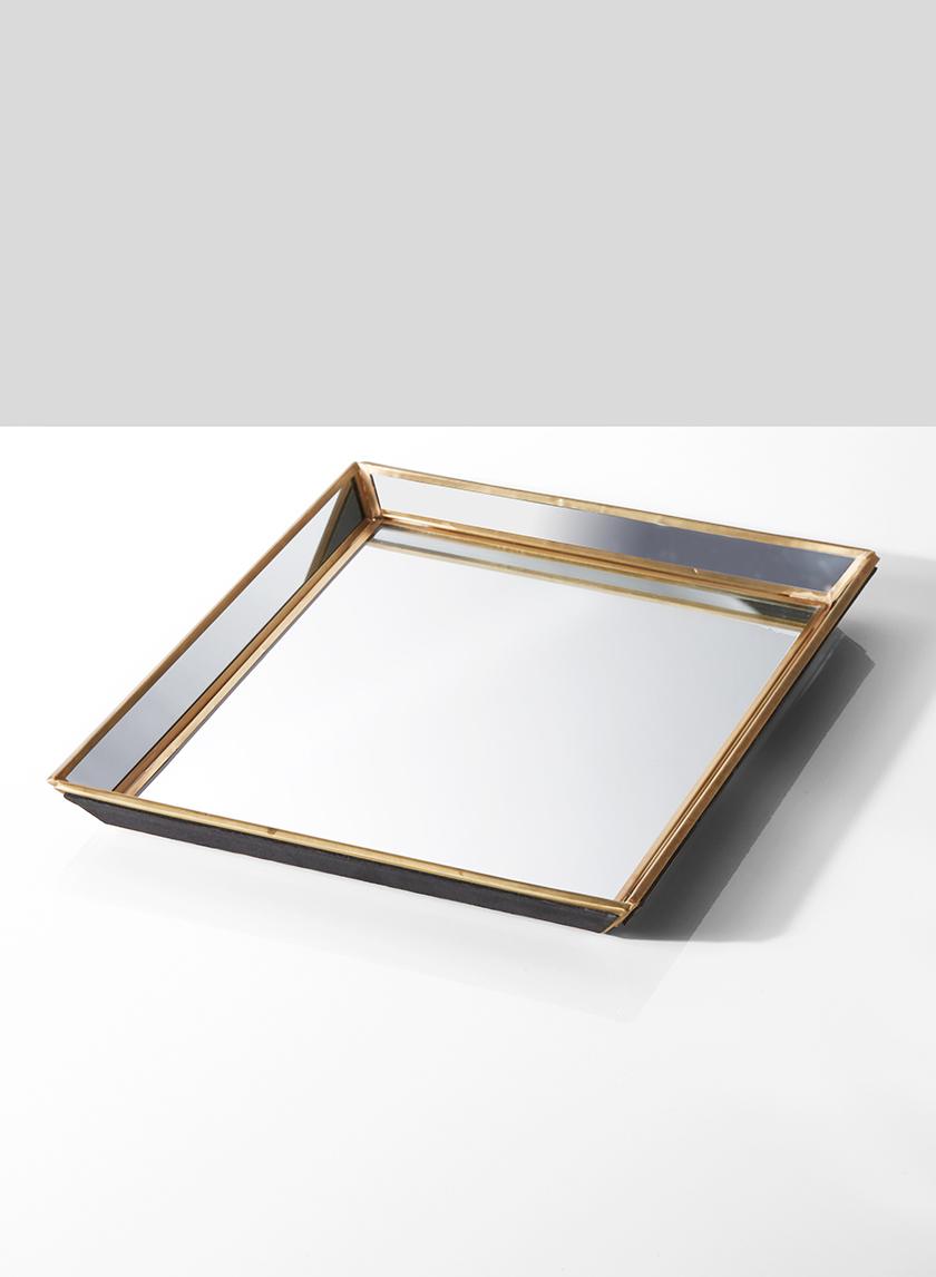 9 x 11in Brass & Mirror Tray