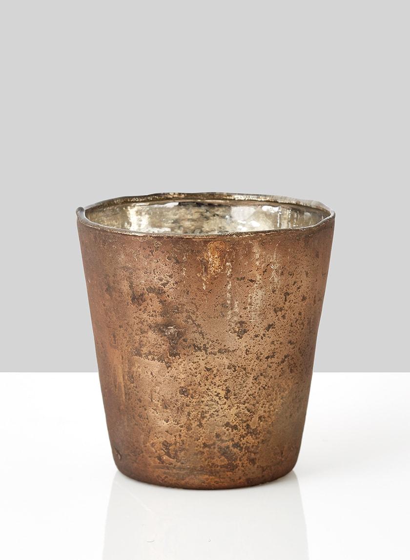matte frost antique gold glass vase