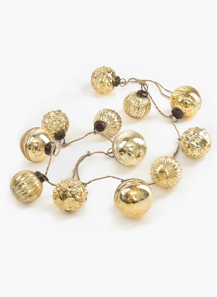 43in Gold Mercury Glass Ball Ornament Garland