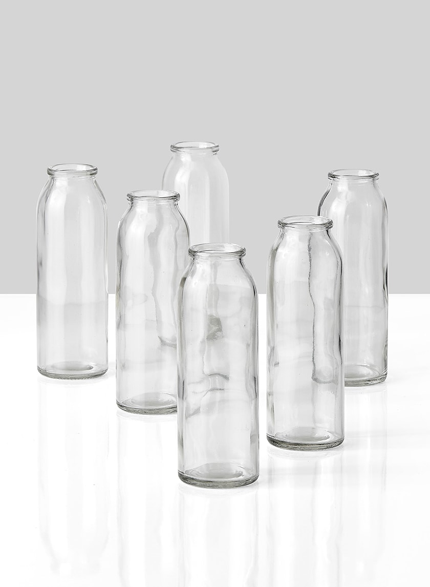 6in Glass Bottle Vase, Set of 6