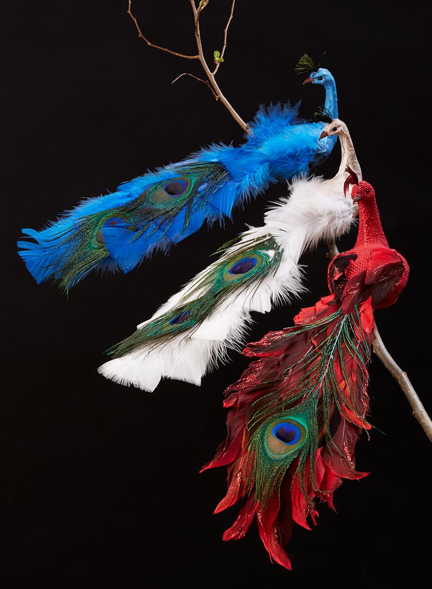13in Blue Papier Mache Peacock
