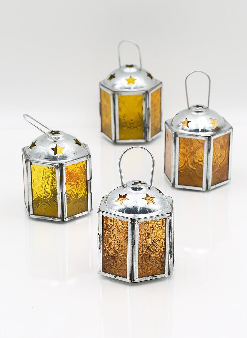 3in Amber Lantern, Set of 4