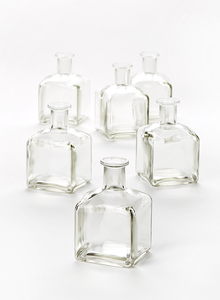 square glass bud vases