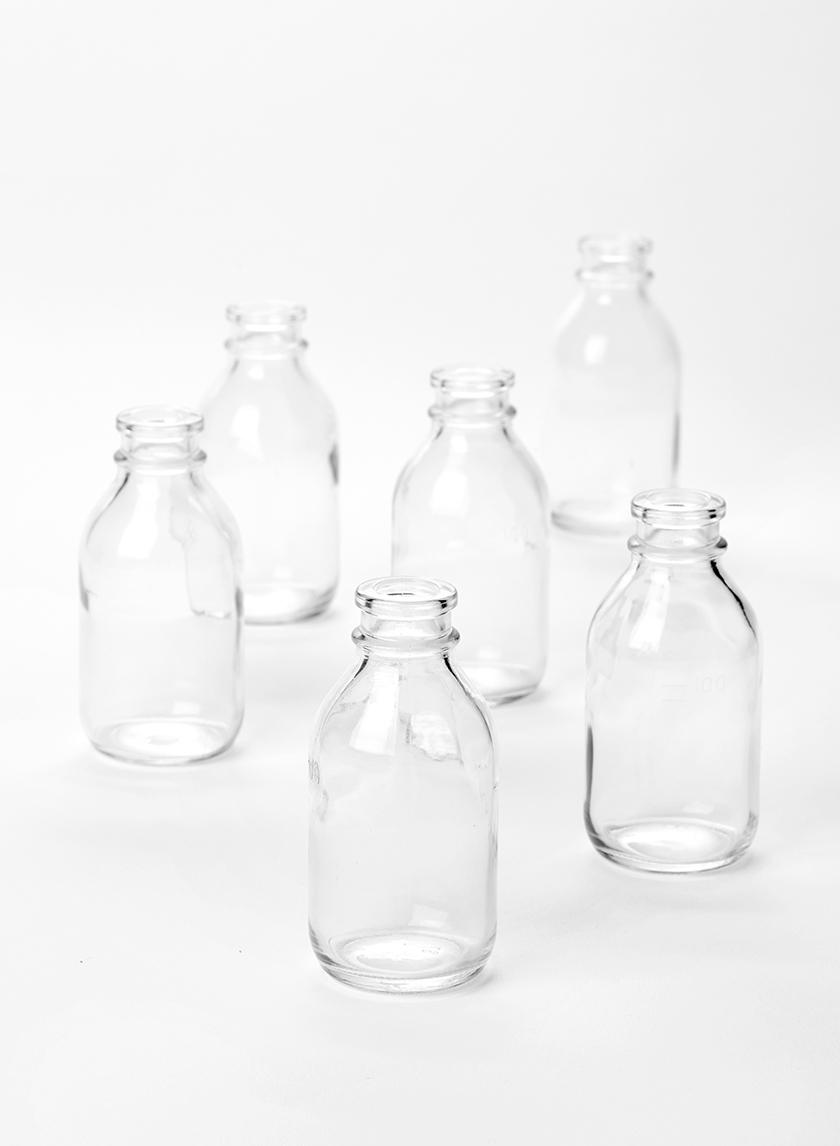 Clear Glass Mini Milk Bottle Vase, Set of 6