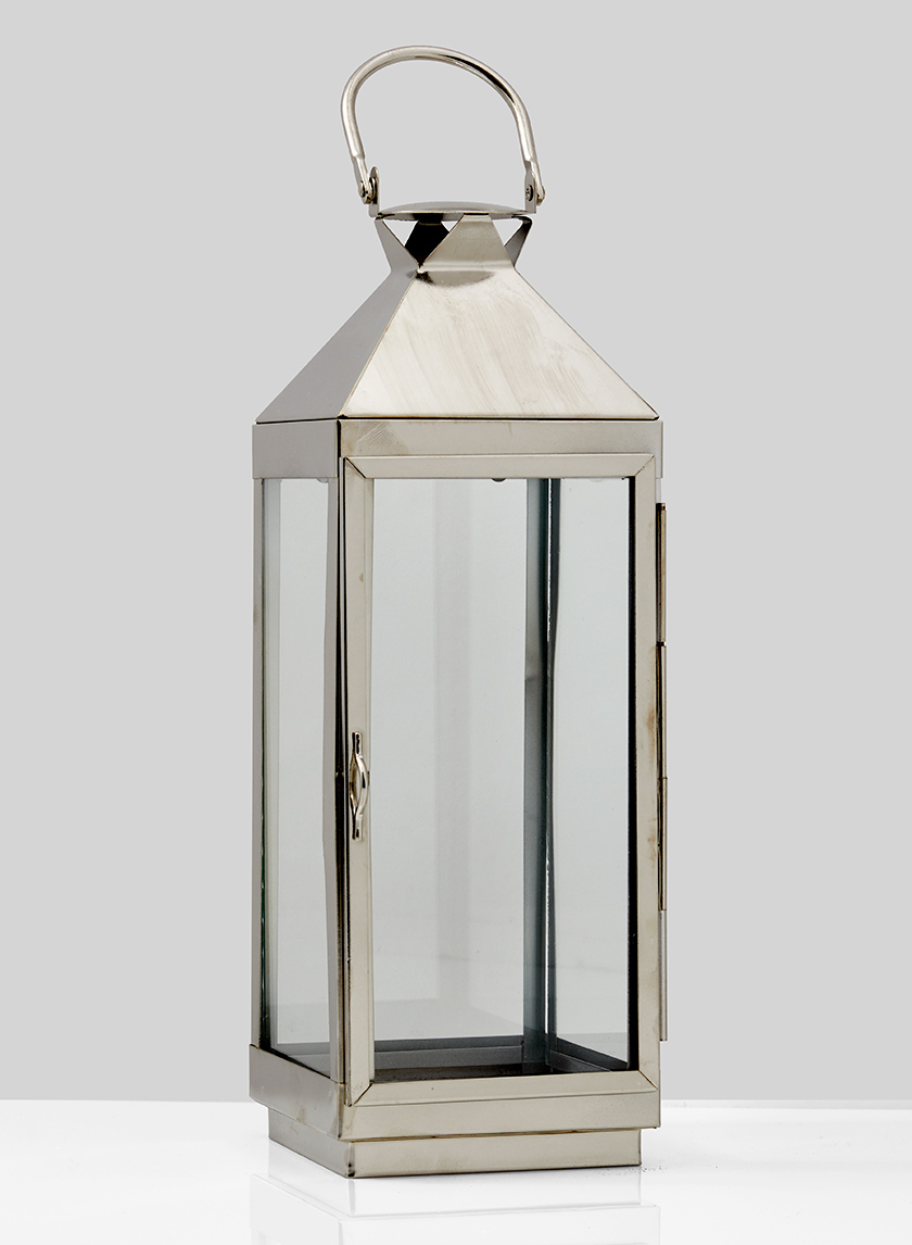12in Burnished Silver Square Lantern