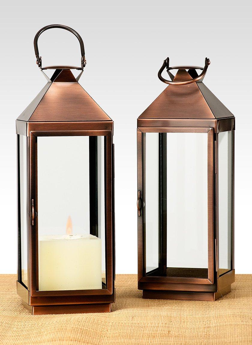 12in Copper Finish Steel Square Lantern