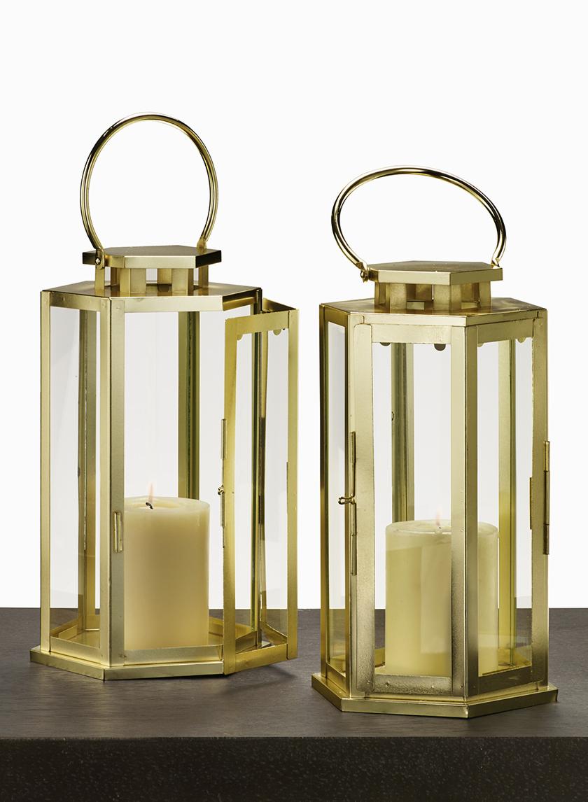 11in Shiny Brass Hexagonal Lantern