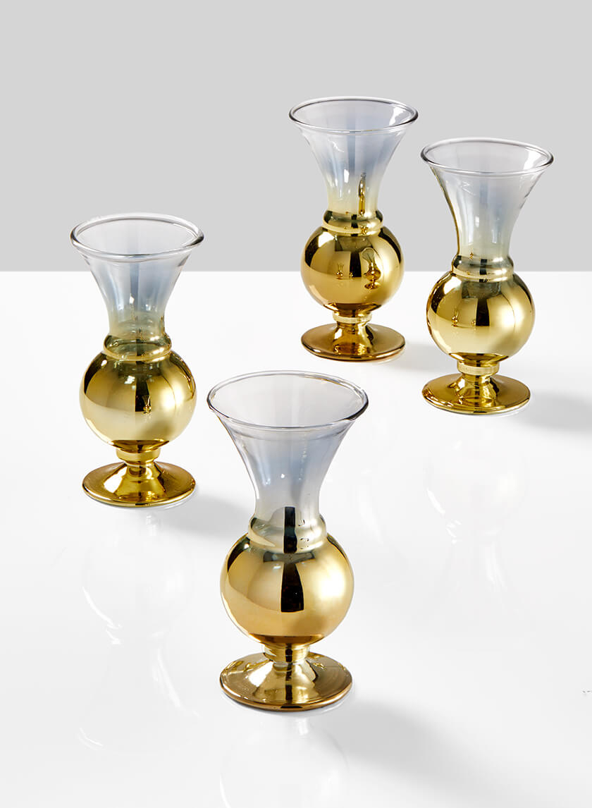 4 3/4in Ombre Gold Glass Fluted Bud Vase, Set of 4