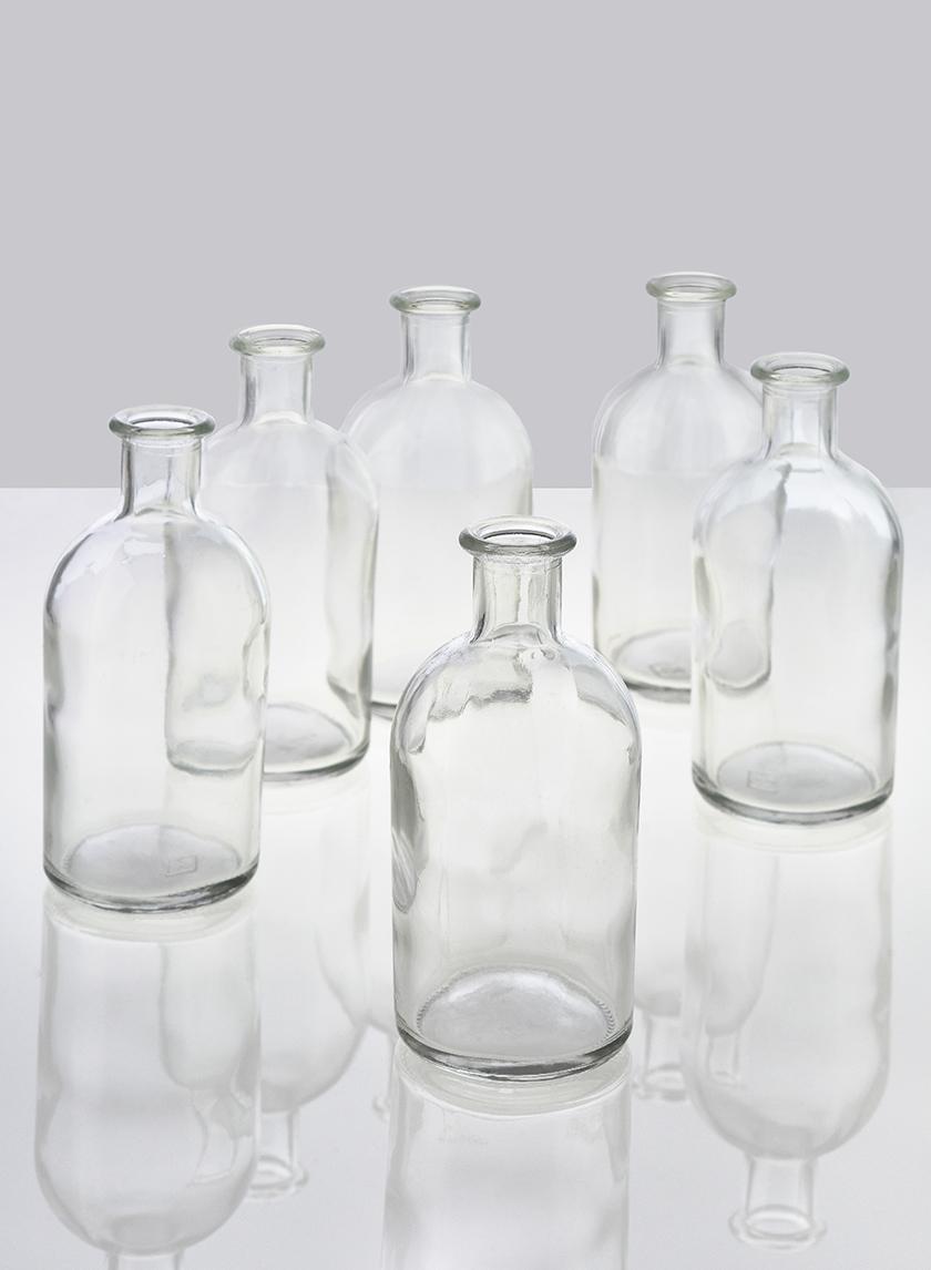 Clear Medicine Bottle Bud Vase, Set of 6