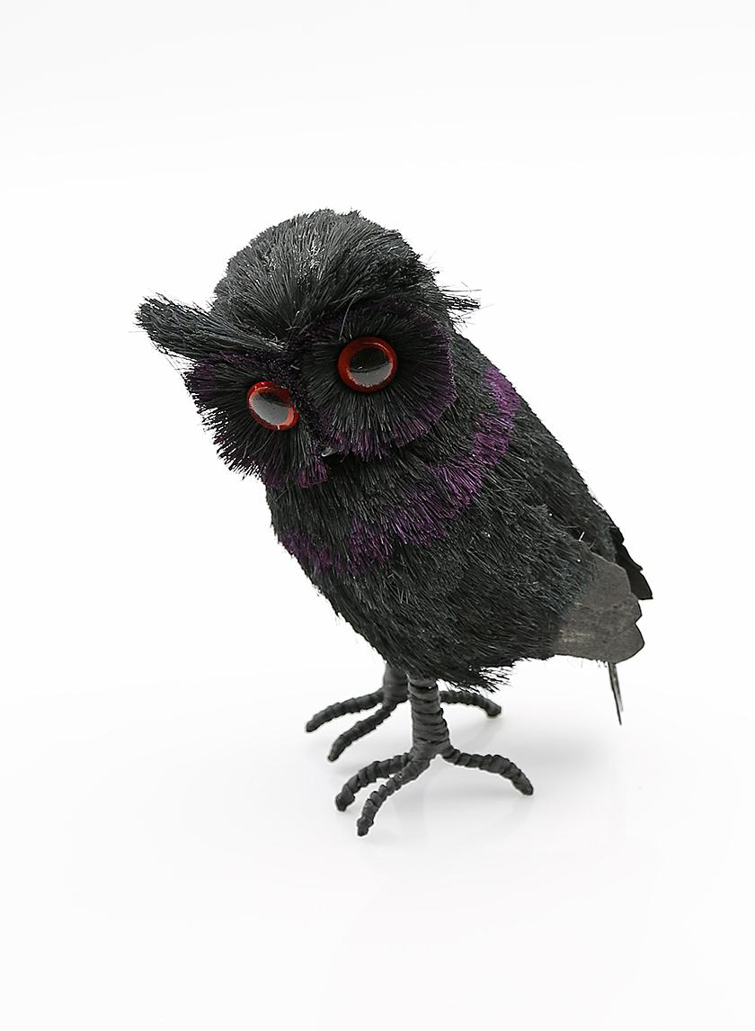 8in Black & Purple Sisal Owl