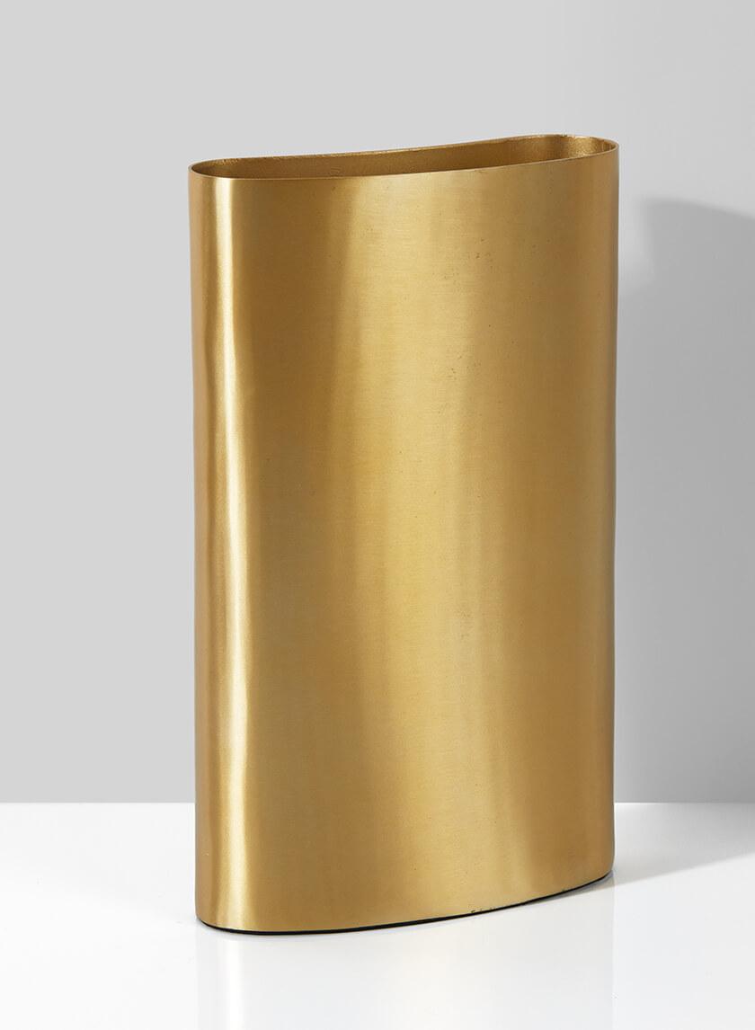 Bretagne Matte Gold Curved Vase, 12in H