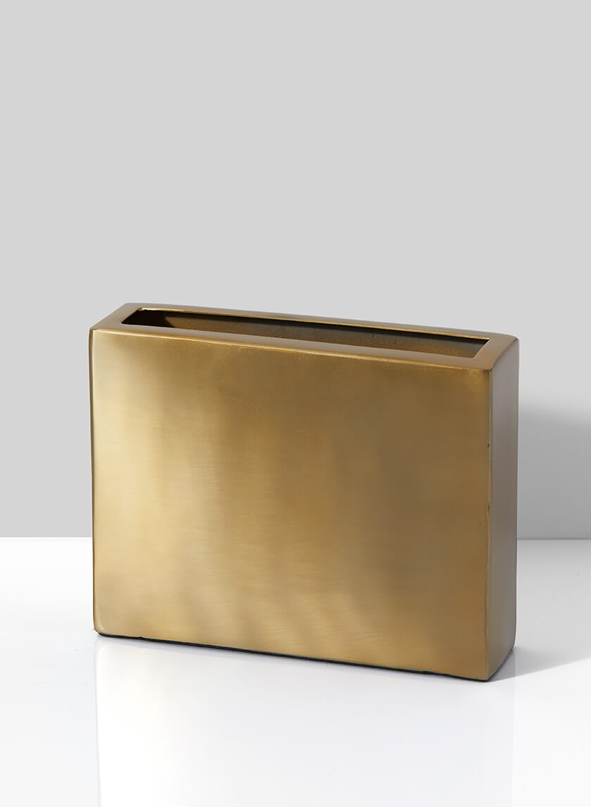 Bretagne Matte Gold Oblong Vase, 6in H