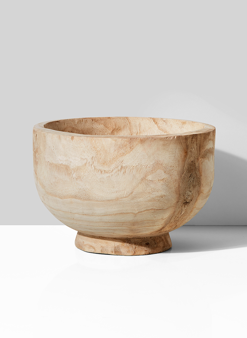 11in Round Paulownia Wood Bowl