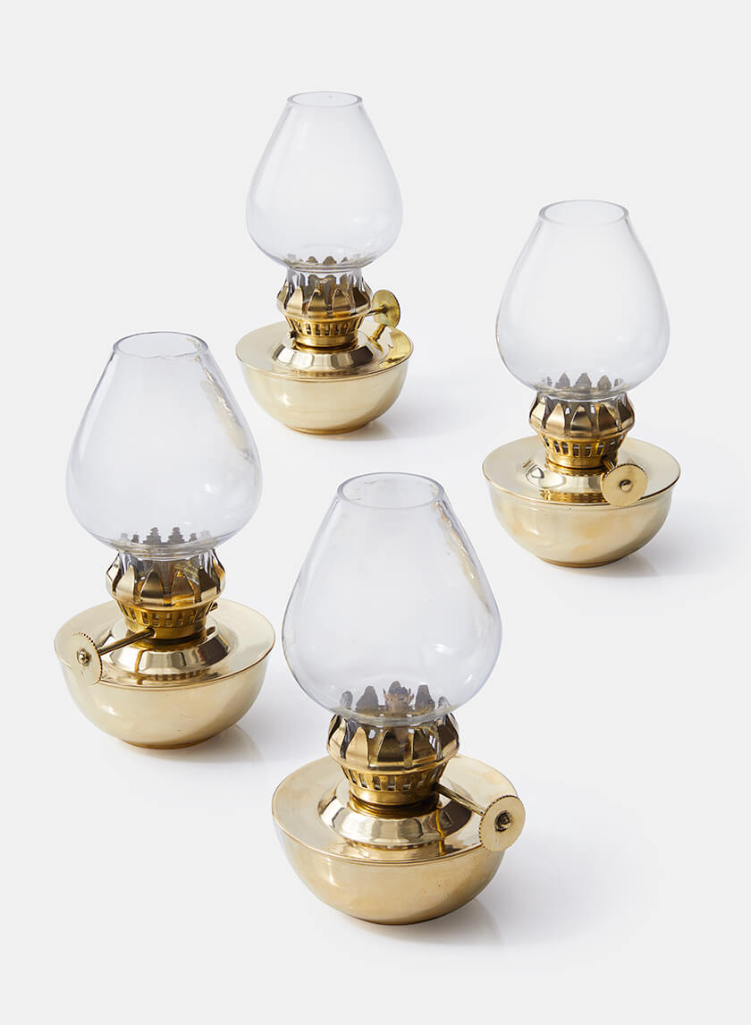Heritage Mini Brass Oil Lamp, Set of 4