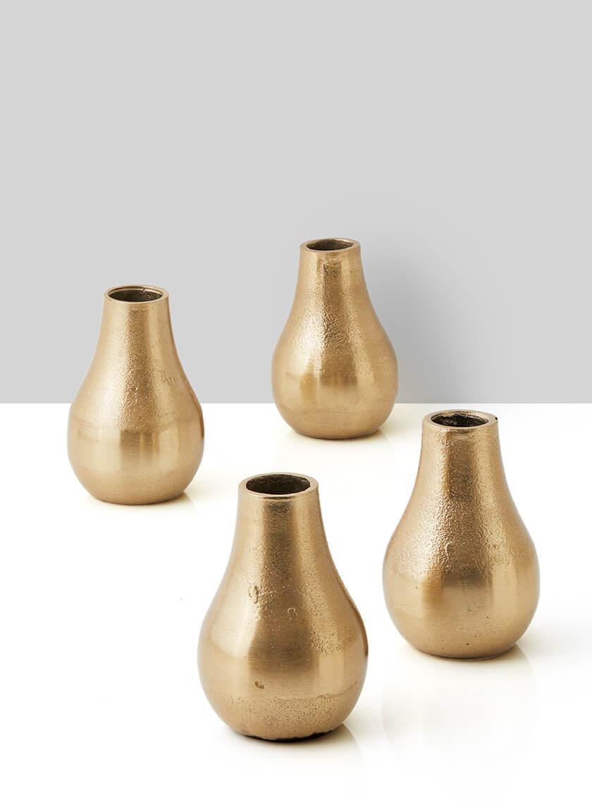 Chateau Gold Pear Bud Vase, Set of 4
