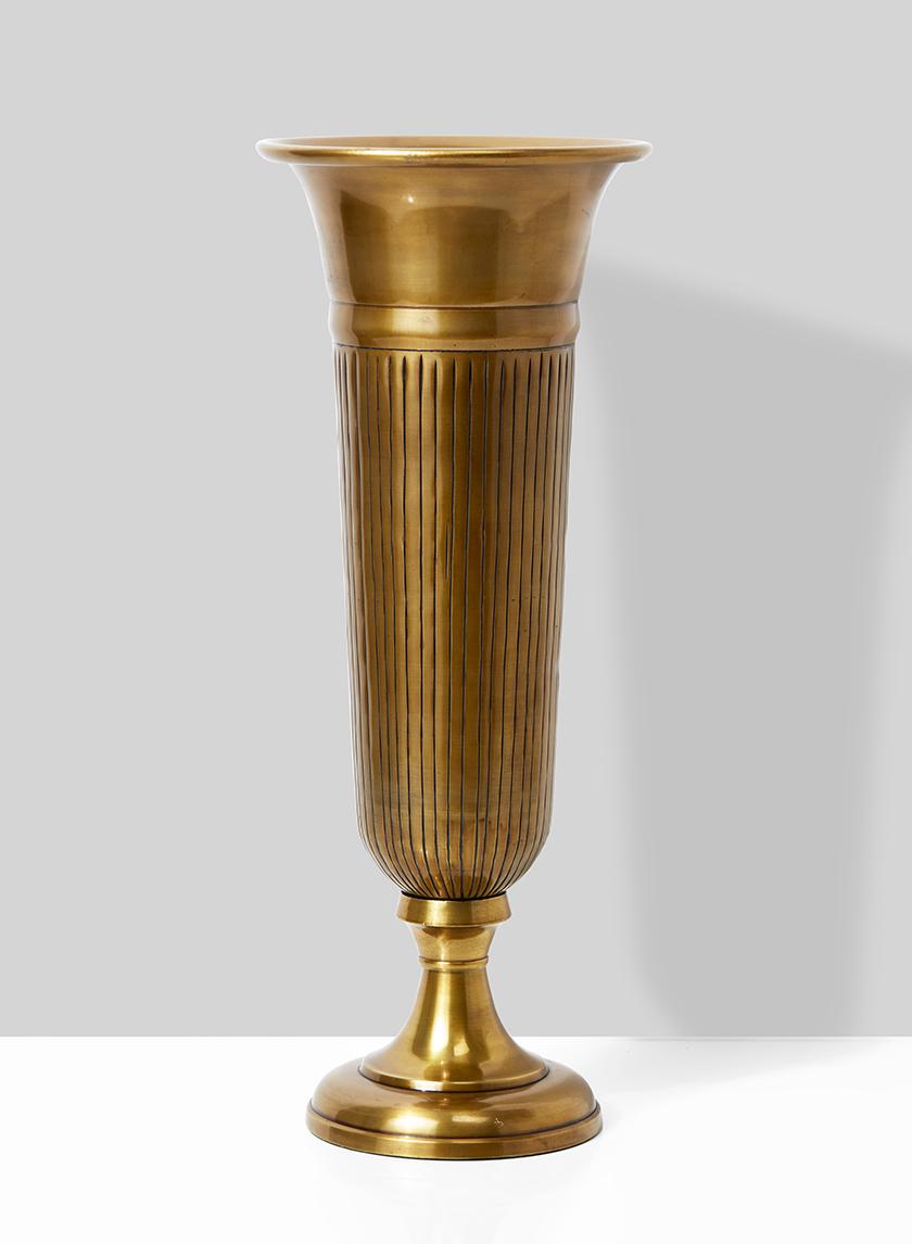 antique brass trumpet vase