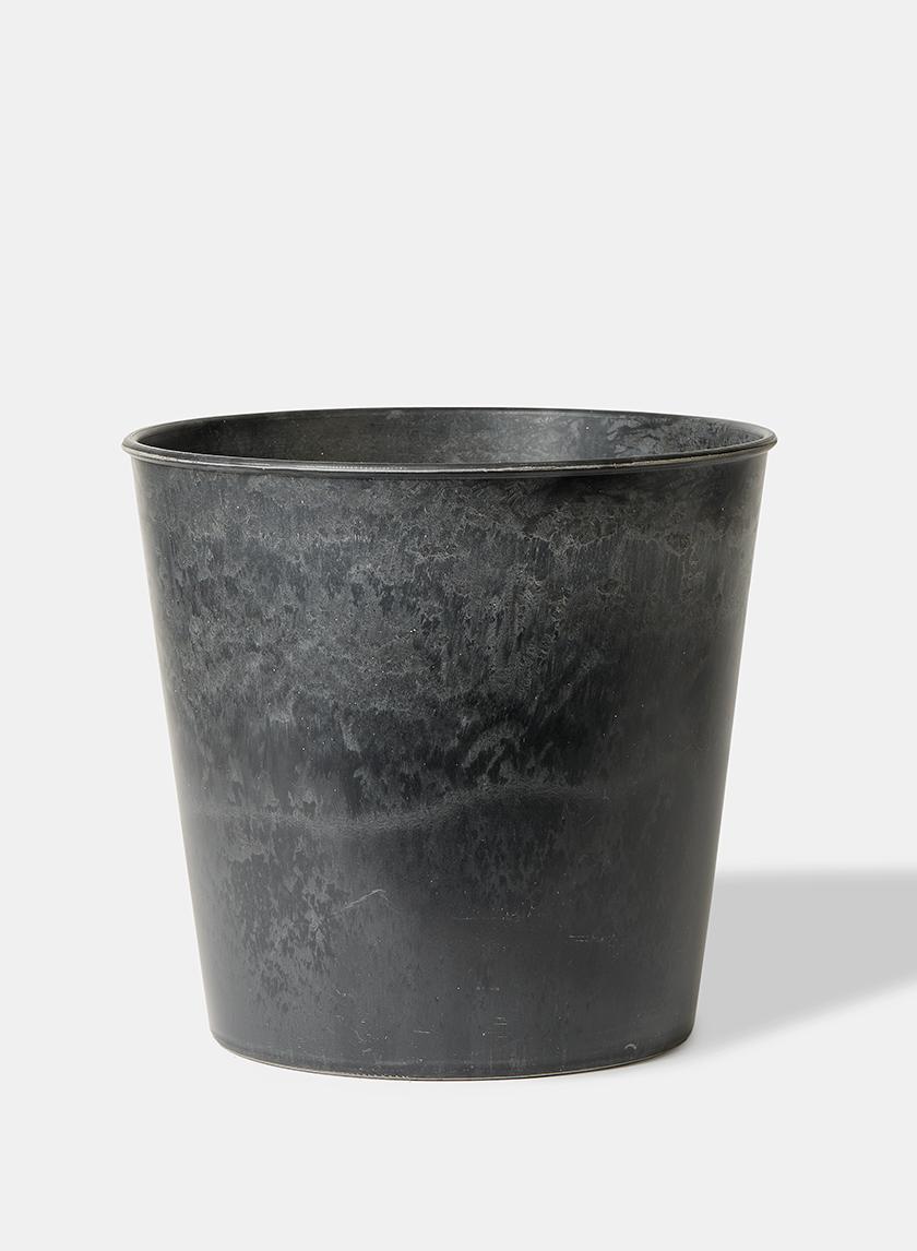 10 3/4in Aged Black Wide Mouth Flower Bucket