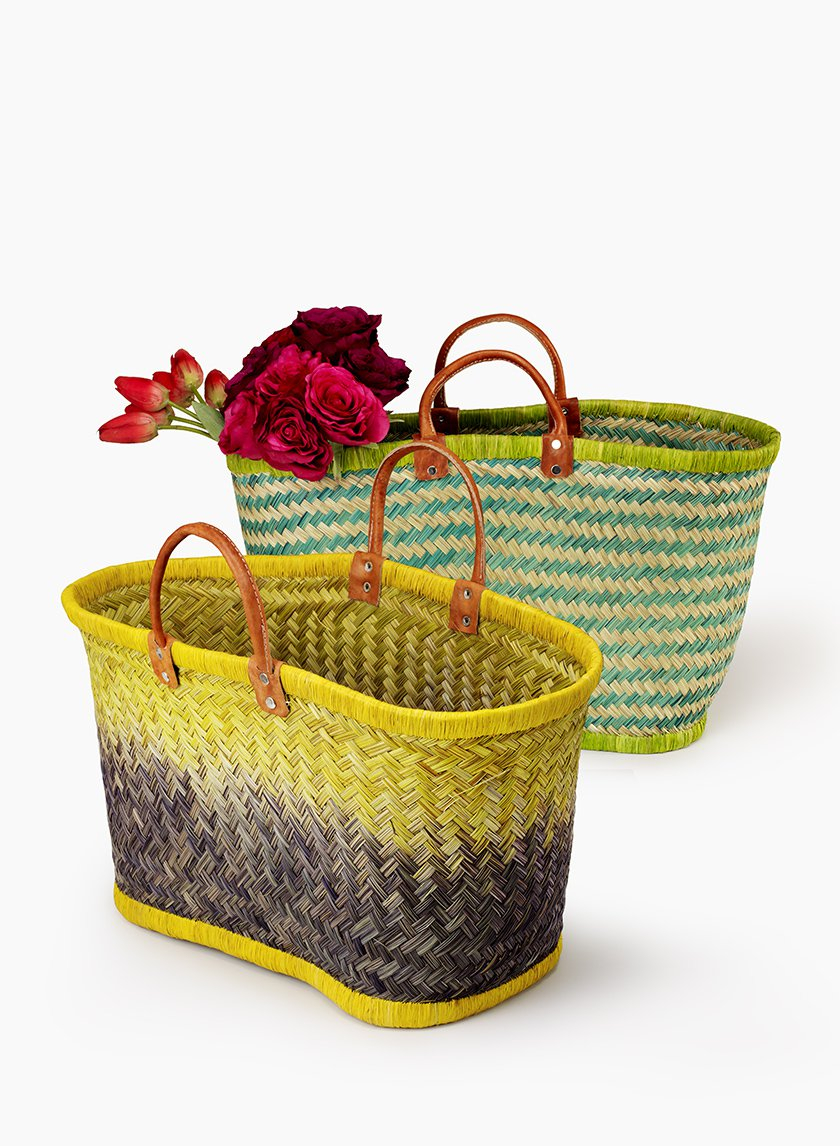 Green & Natural Stripe Straw Bag With Leather Handles