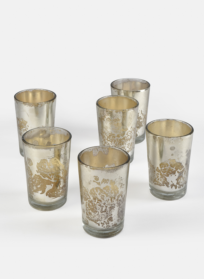 Prefilled Antique Silver Mercury Glass Votive, Set of 6
