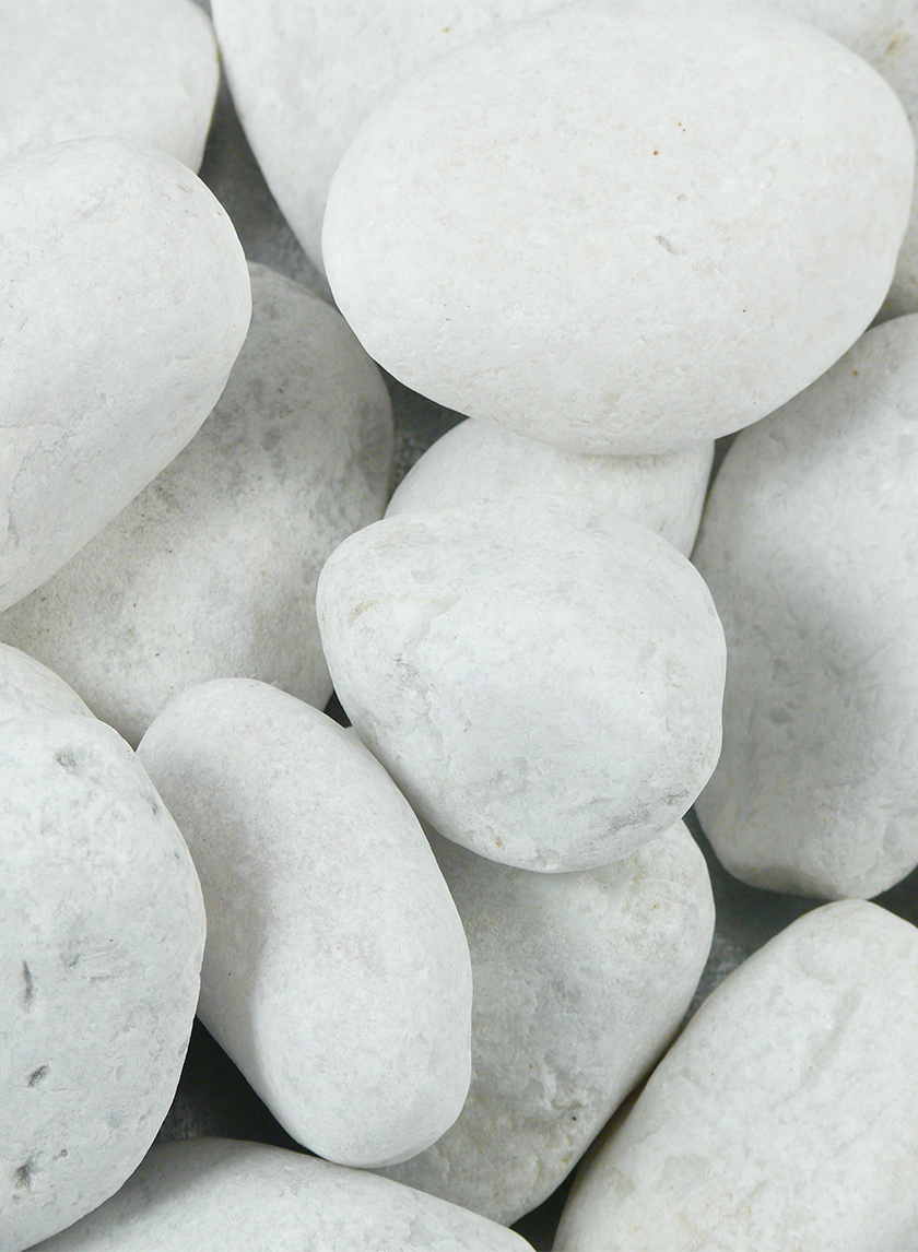 2 - 3in White Tumbled Marble