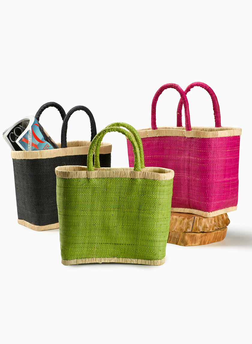 Green & Black Raffia Bags With Natural Borders