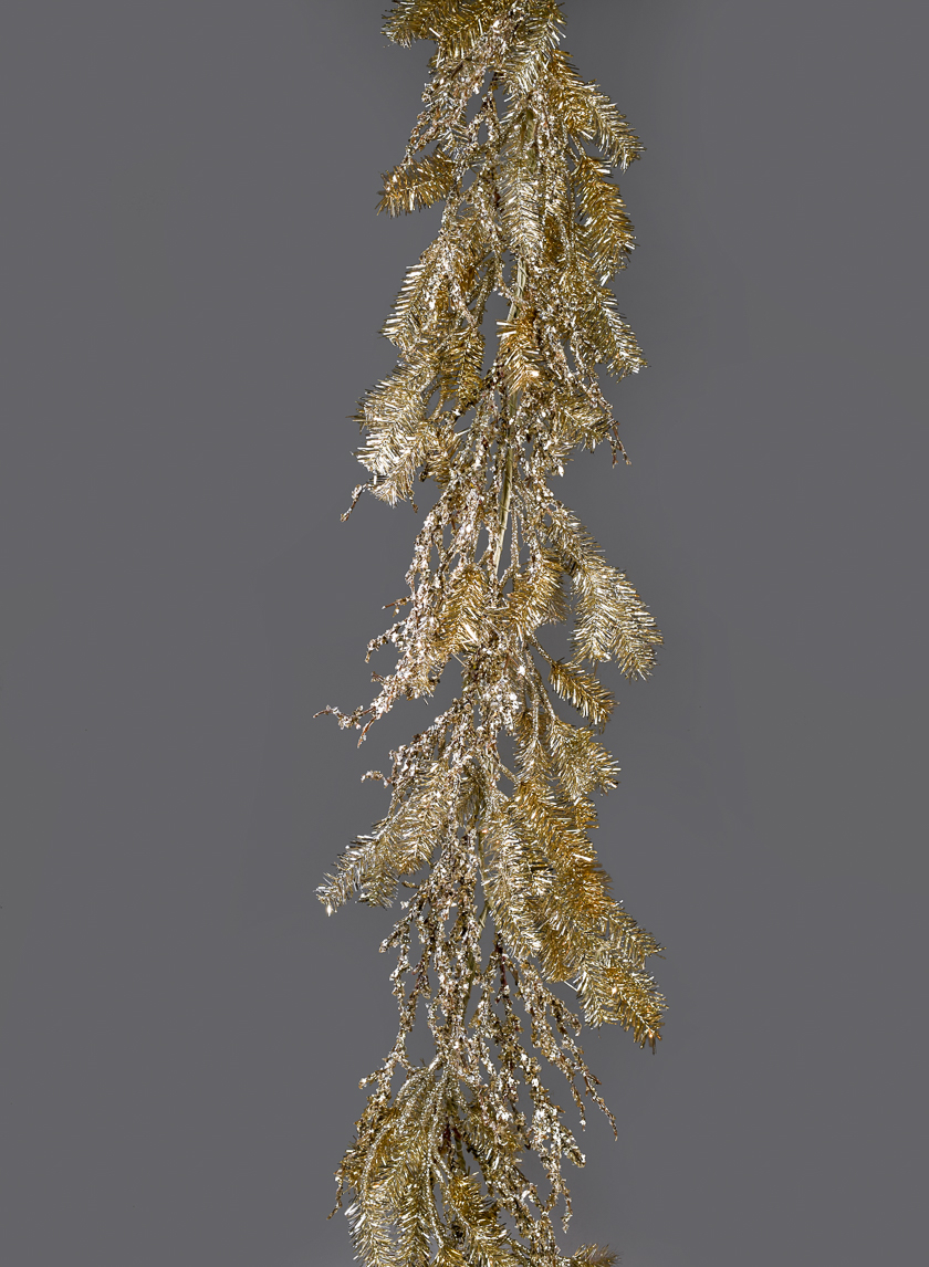 Champagne Gold Tinsel Pine Garland With Twigs