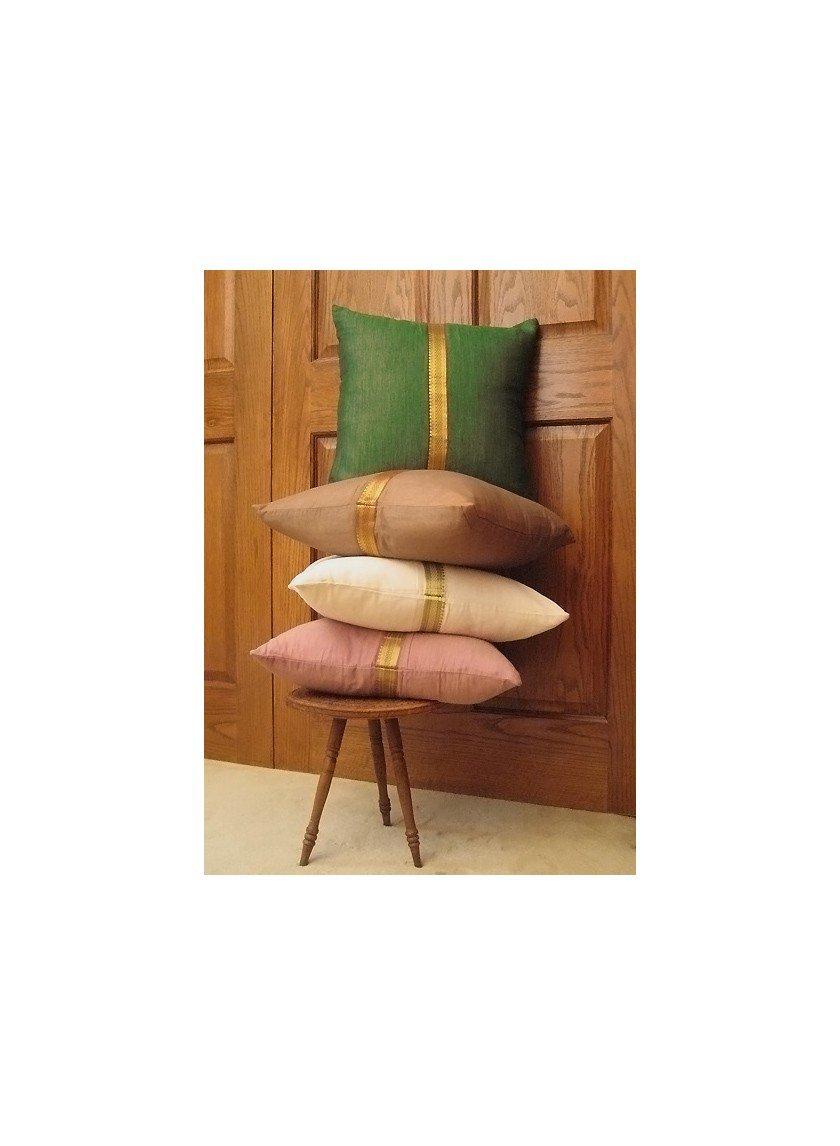 Brown Sari Border Pillow