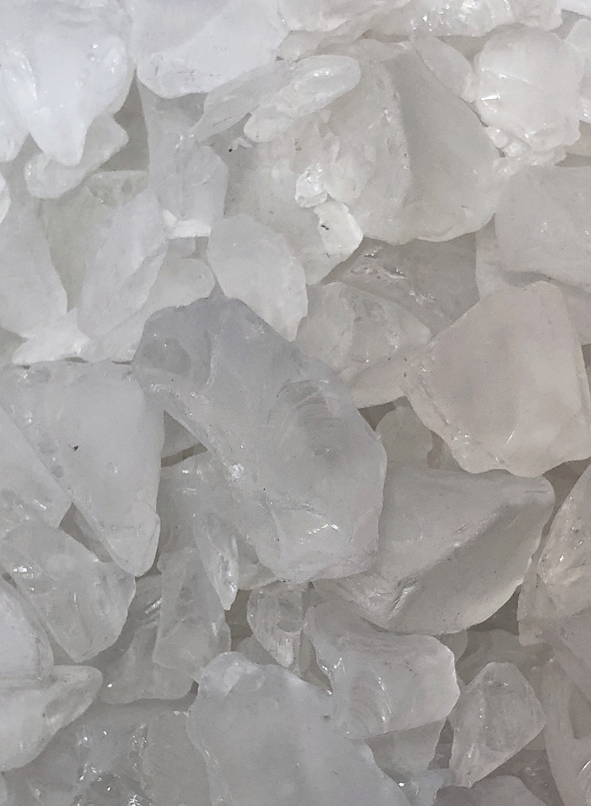 frosted clear sea glass