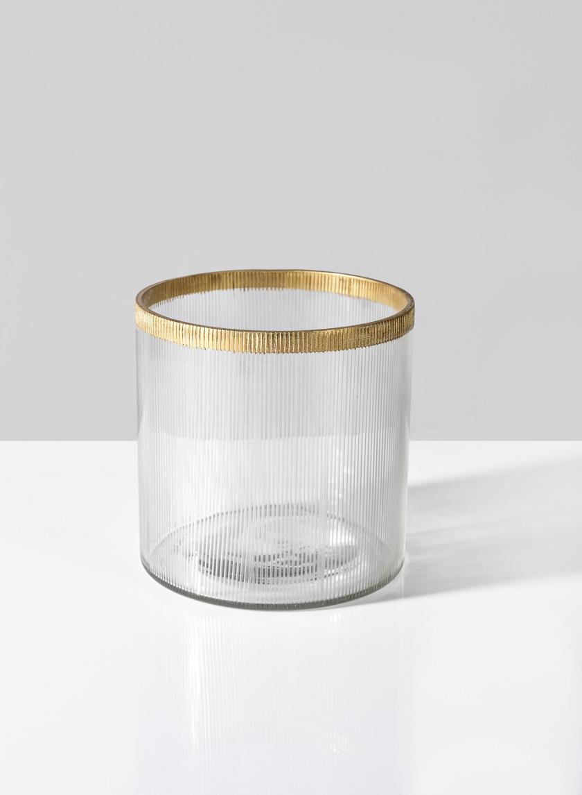 4in x 4in Gold Rim Ribbed Glass Tea Light Holder
