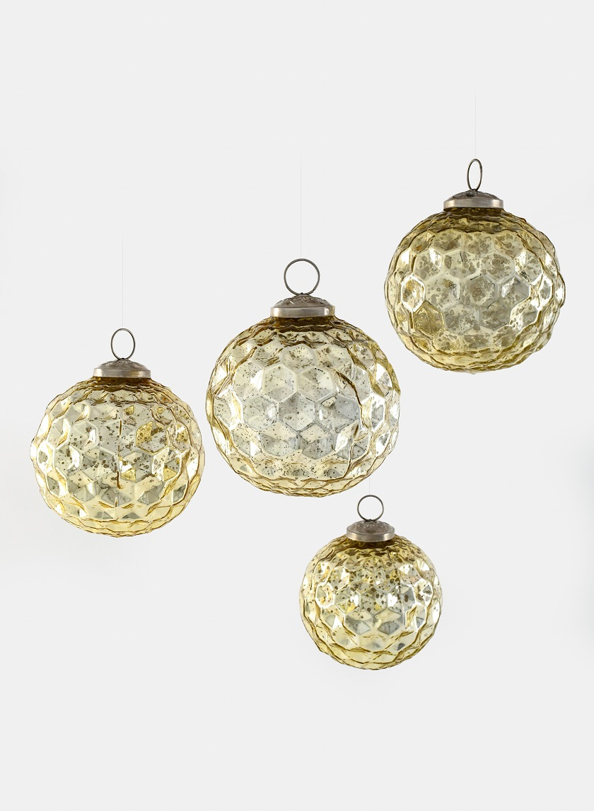 4in Gold Diamond Dimple Glass Ball Ornament, Set of 4