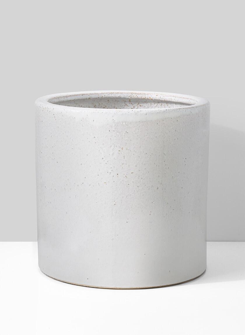 12in White Ceramic Round Cachepot