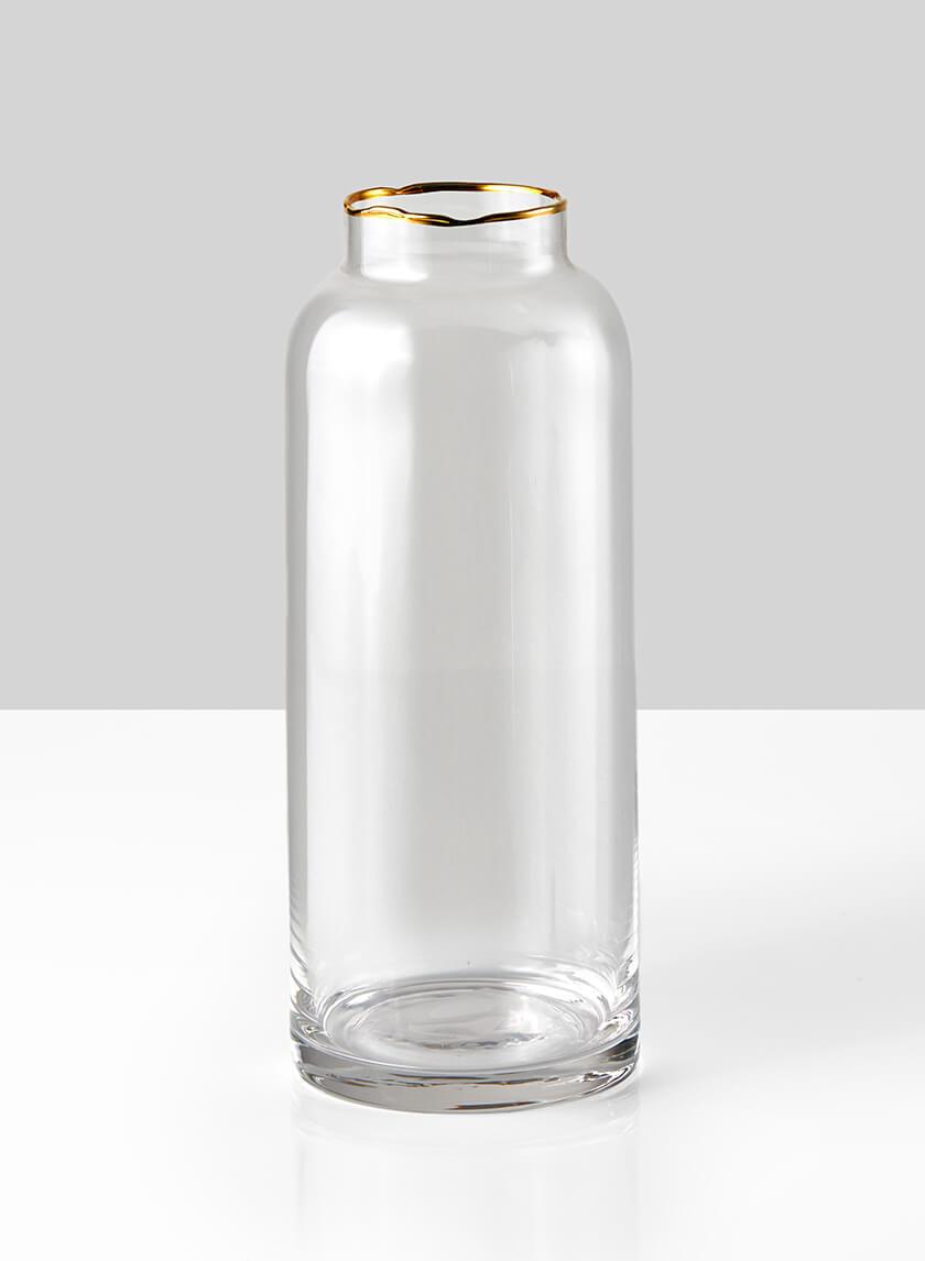 Gold Rim Glass Bottle Vase,  9in H