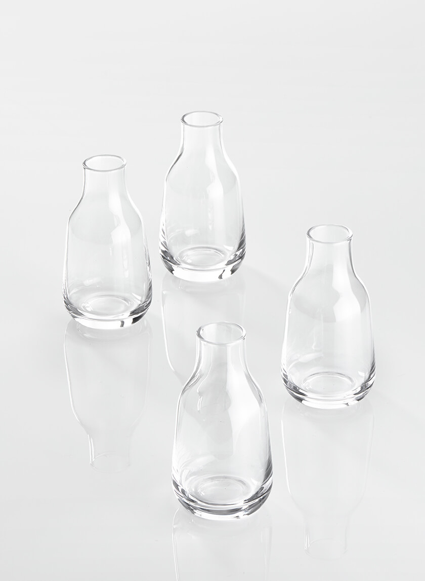 Tiny Bottle Bud Vase, Set of 4