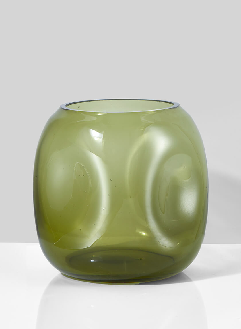 Dimpled Green Glass Vase, 5in H