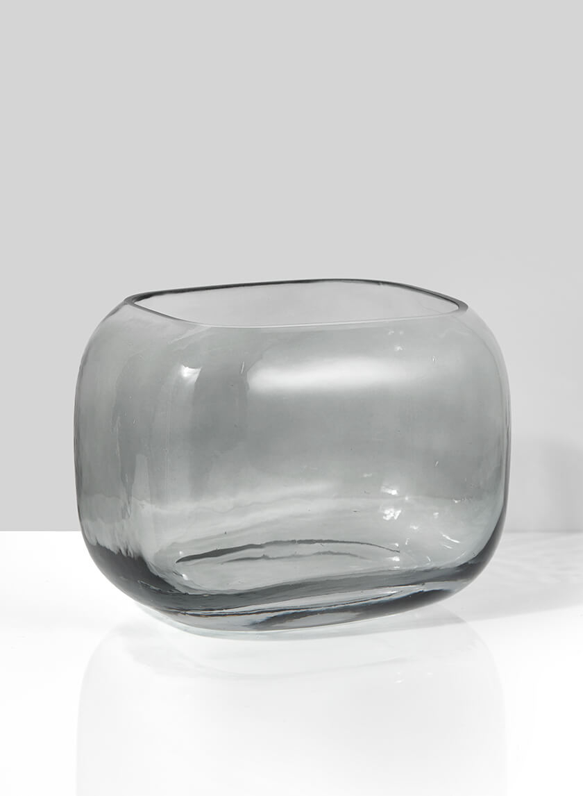 Cool Grey Glass Square Fishbowl Vase