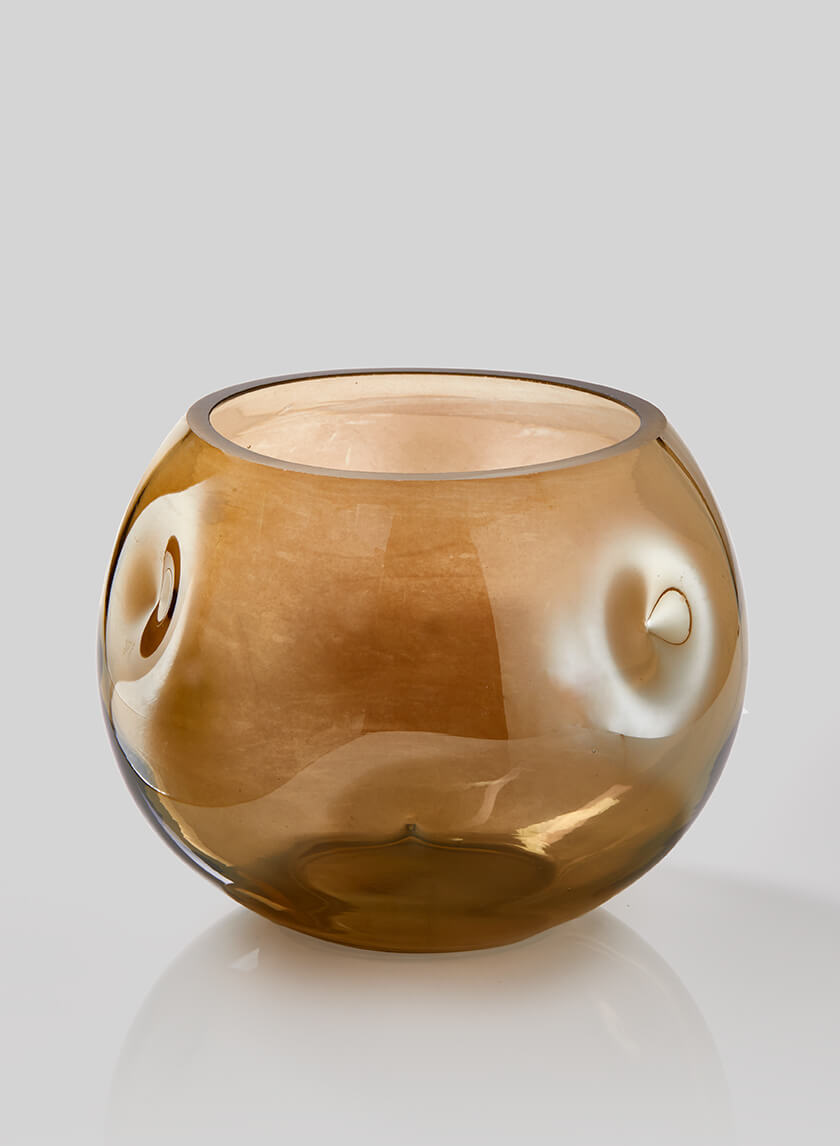 Dark Amber Luster Dimpled Fishbowl Vase, 6in