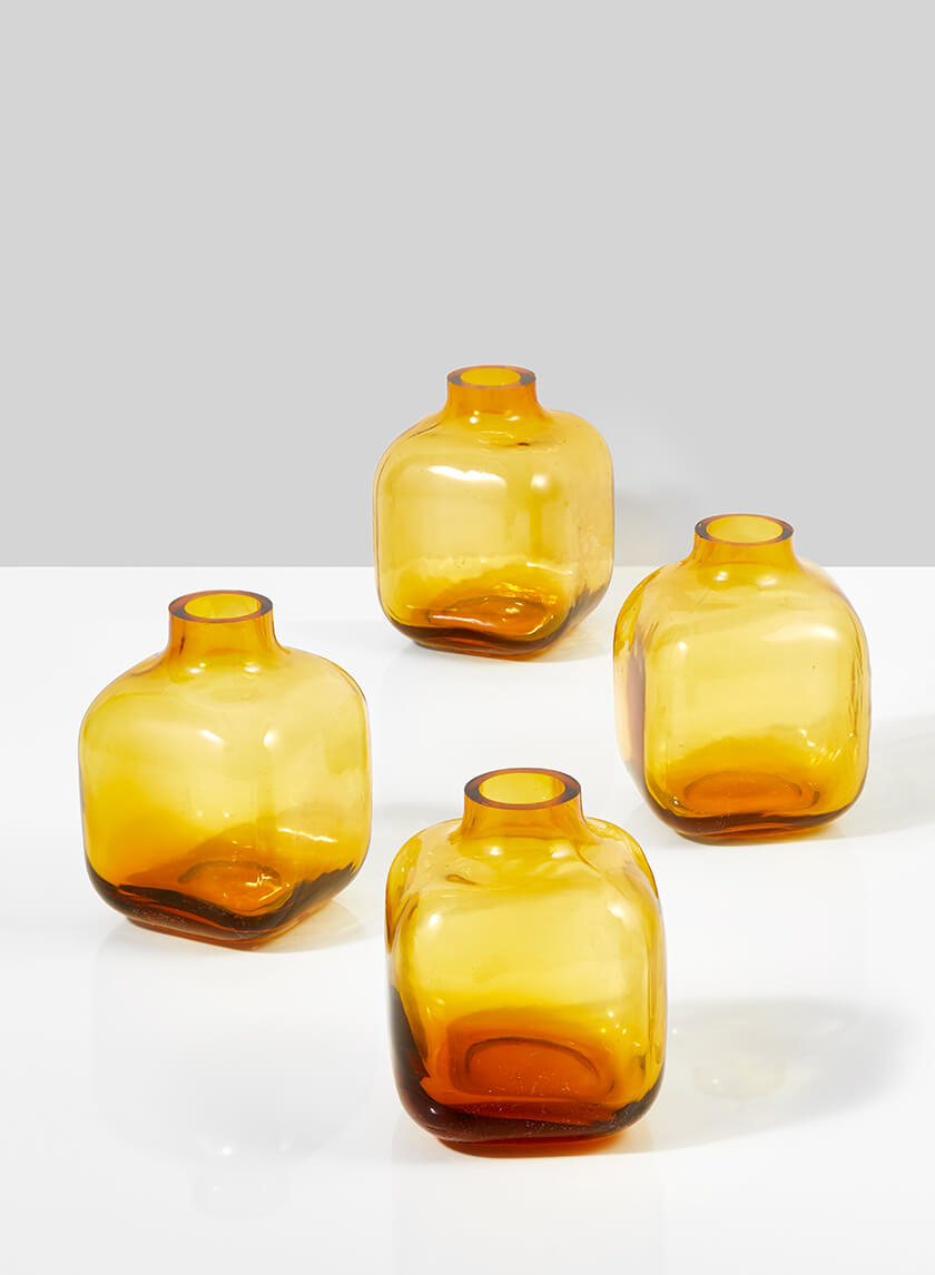 Small Square Amber Glass Bud Vase, Set of 4