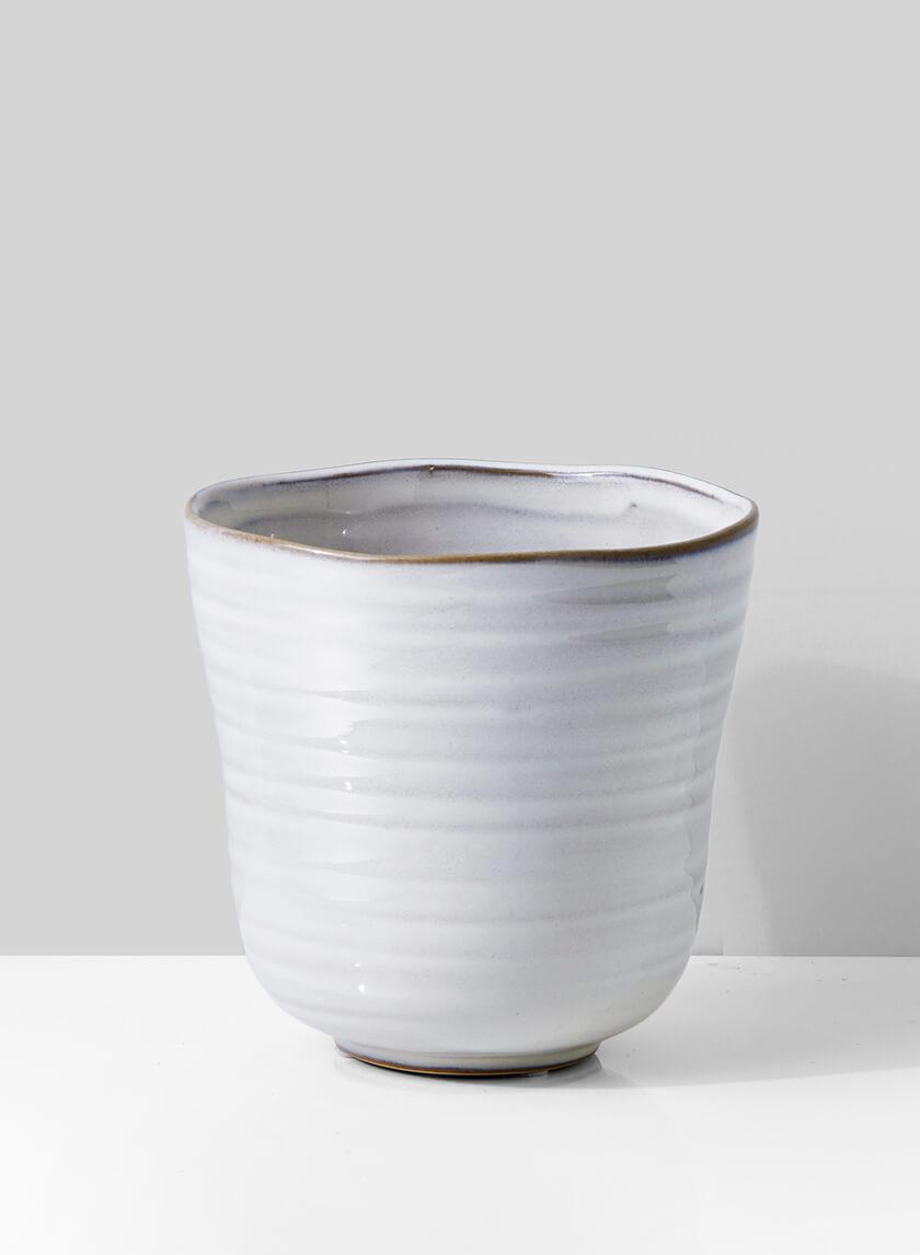 5in White Ceramic Ripple Pot