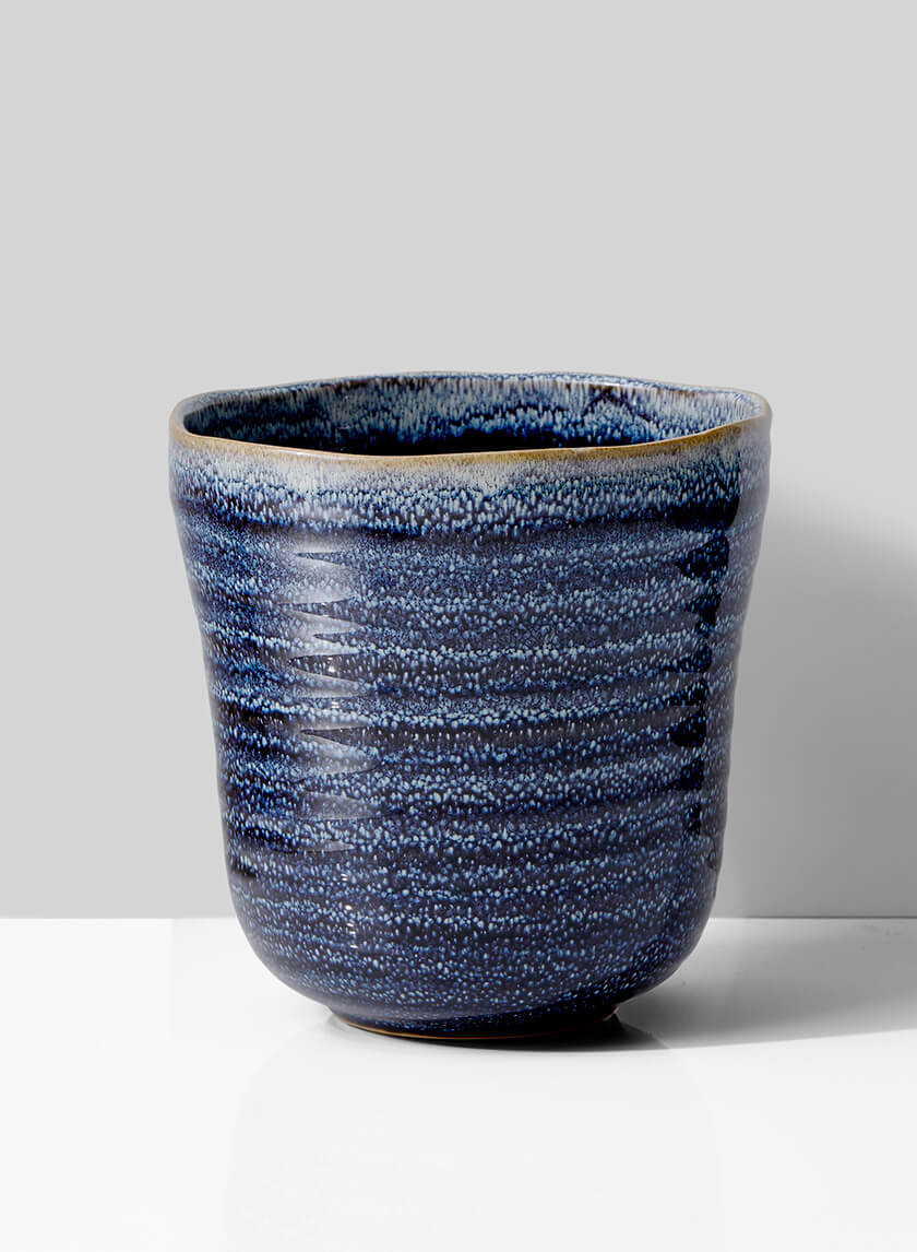 6 1/2in Blue Ceramic Ripple  Pot
