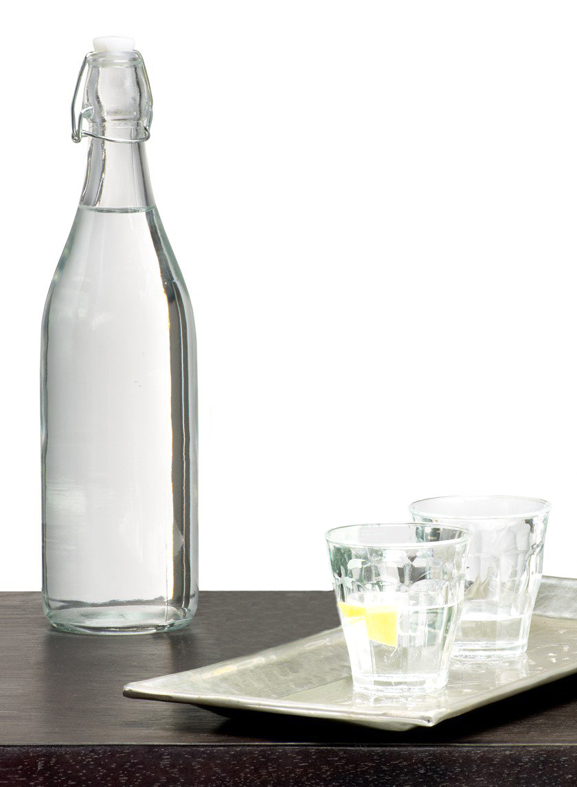 Glass Water Bottle With Wire Bail Lid