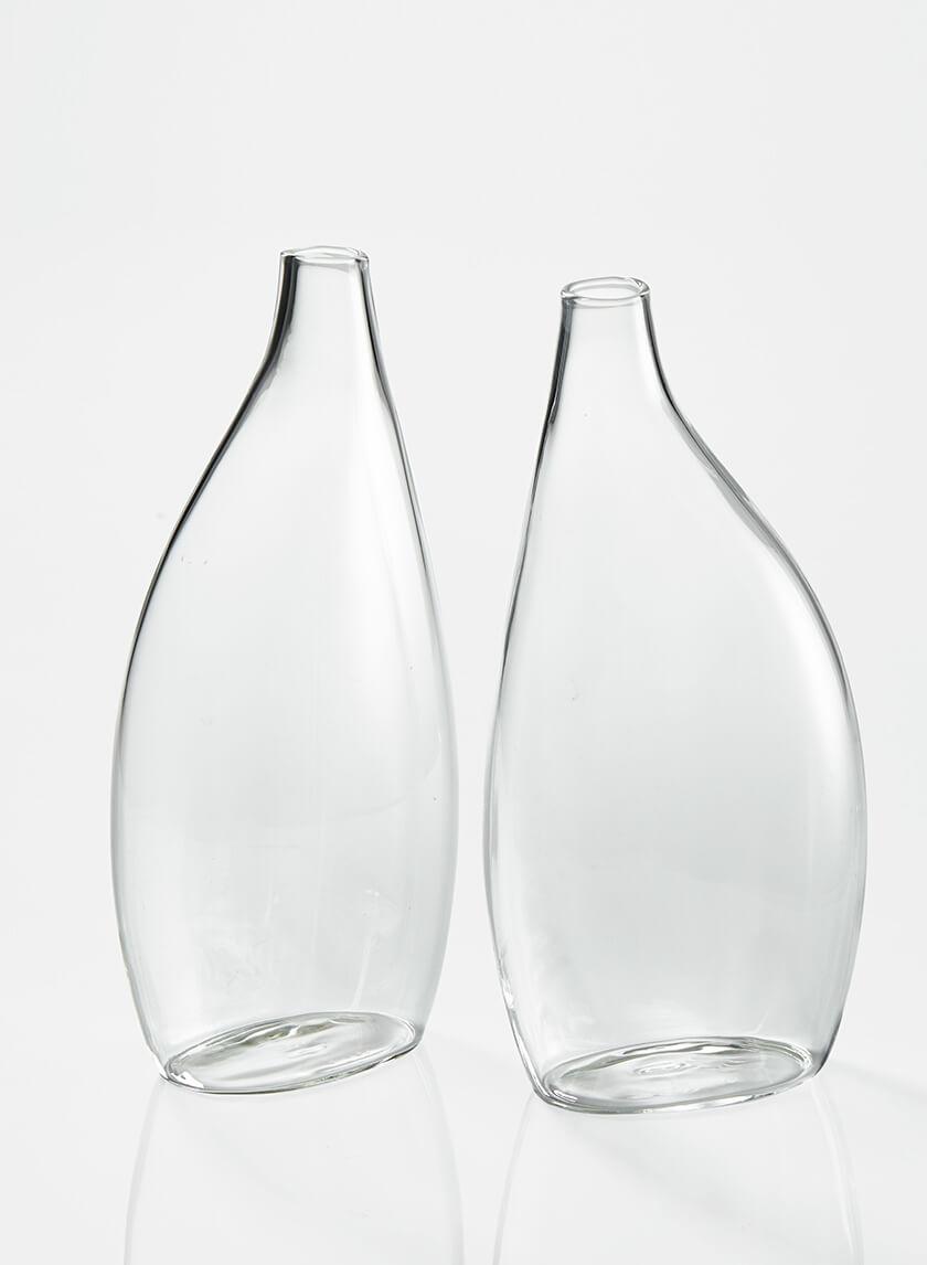 7 3/4in Flat Bottle Vase, Set of 2
