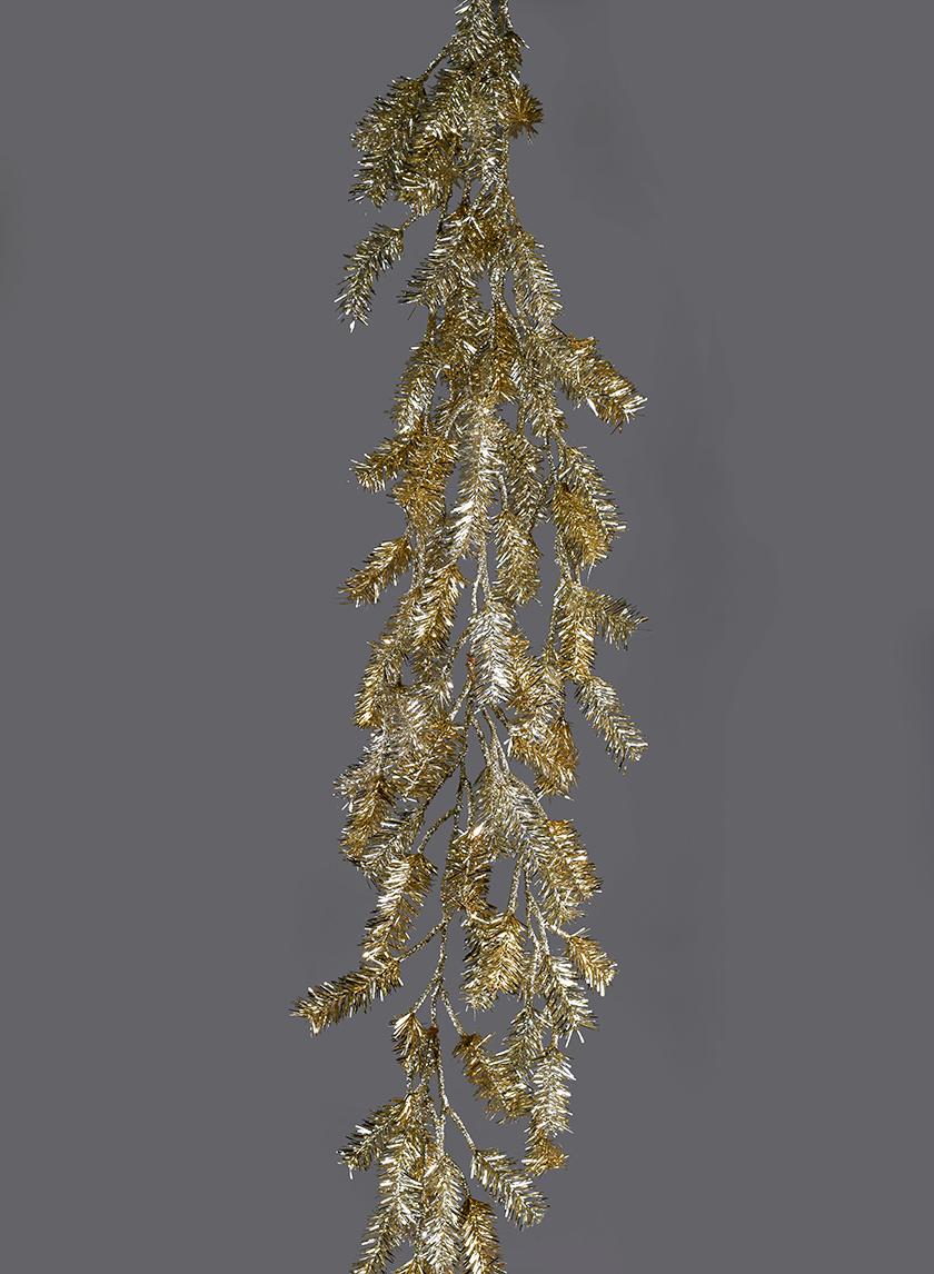Champagne Gold Tinsel Pine Garland