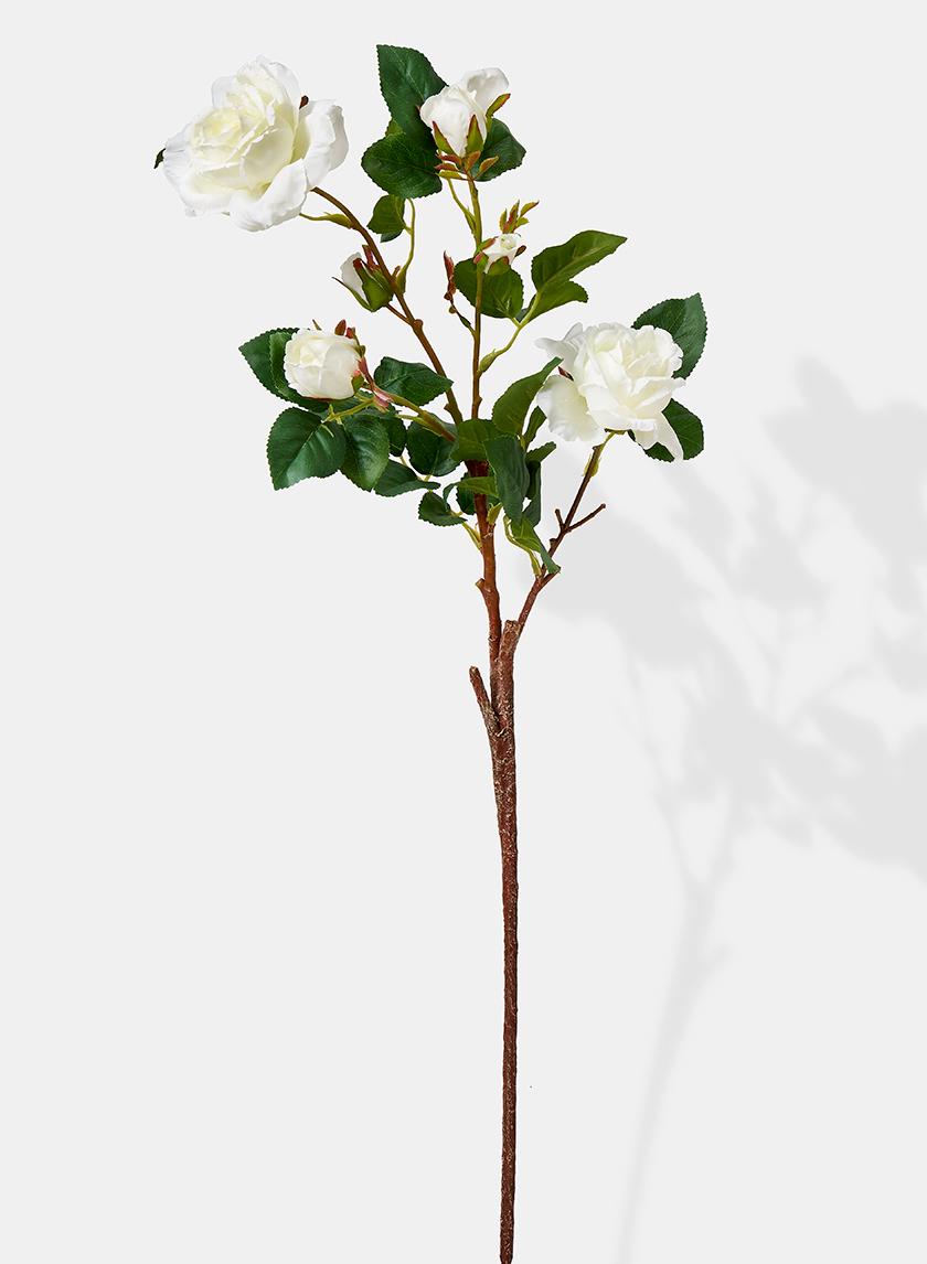 white rose branch floral display